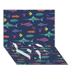 Twiddy Tropical Fish Pattern Love Bottom 3d Greeting Card (7x5)