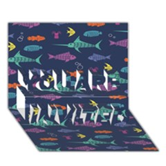Twiddy Tropical Fish Pattern You Are Invited 3d Greeting Card (7x5)