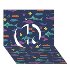 Twiddy Tropical Fish Pattern Peace Sign 3d Greeting Card (7x5)