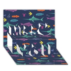 Twiddy Tropical Fish Pattern Miss You 3d Greeting Card (7x5)