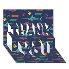 Twiddy Tropical Fish Pattern Thank You 3d Greeting Card (7x5)