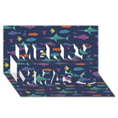 Twiddy Tropical Fish Pattern Merry Xmas 3d Greeting Card (8x4)