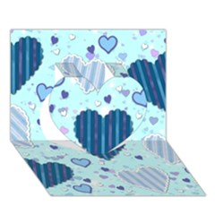 Light And Dark Blue Hearts Heart 3d Greeting Card (7x5)