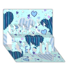 Light And Dark Blue Hearts Miss You 3d Greeting Card (7x5)