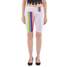 Rainbow Side Background Yoga Cropped Leggings