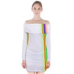 Rainbow Side Background Long Sleeve Off Shoulder Dress
