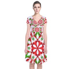 Red And Green Snowflake Short Sleeve Front Wrap Dress