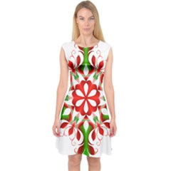 Red And Green Snowflake Capsleeve Midi Dress