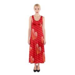 Red Hearts Sleeveless Maxi Dress