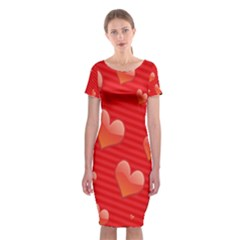 Red Hearts Classic Short Sleeve Midi Dress