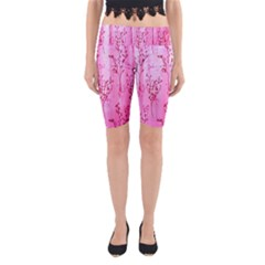 Pink Curtains Background Yoga Cropped Leggings