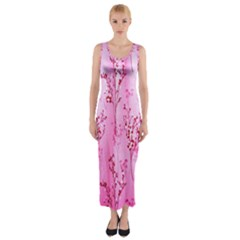 Pink Curtains Background Fitted Maxi Dress