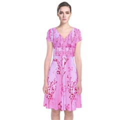 Pink Curtains Background Short Sleeve Front Wrap Dress