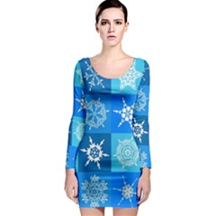 Seamless Blue Snowflake Pattern Long Sleeve Bodycon Dress