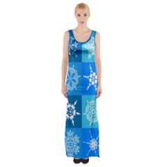 Seamless Blue Snowflake Pattern Maxi Thigh Split Dress