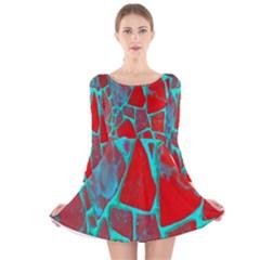 Red Marble Background Long Sleeve Velvet Skater Dress