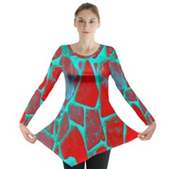 Red Marble Background Long Sleeve Tunic