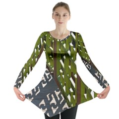 Shadow Reflections Casting From Japanese Garden Fence Long Sleeve Tunic