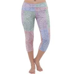 Seamless Kaleidoscope Patterns In Different Colors Based On Real Knitting Pattern Capri Yoga Leggings