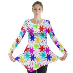 Snowflake Pattern Repeated Long Sleeve Tunic