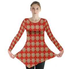 Snowflakes Square Red Background Long Sleeve Tunic
