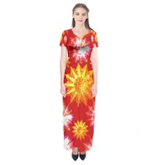 Stars Patterns Christmas Background Seamless  Short Sleeve Maxi Dress