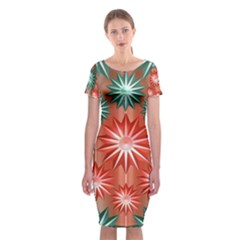 Stars Patterns Christmas Background Seamless      Classic Short Sleeve Midi Dress