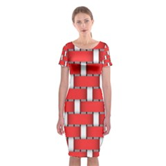 Weave And Knit Pattern Seamless Background Wallpaper Classic Short Sleeve Midi Dress