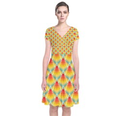 The Colors Of Summer    Short Sleeve Front Wrap Dress