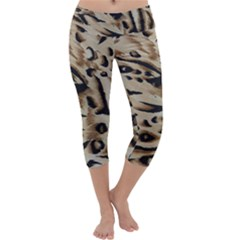 Tiger Animal Fabric Patterns Capri Yoga Leggings