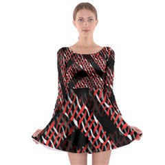 Weave And Knit Pattern Seamless Long Sleeve Skater Dress