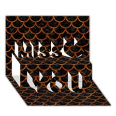 Scales1 Black Marble & Brown Marble Miss You 3d Greeting Card (7x5)