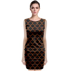 Scales1 Black Marble & Brown Marble Classic Sleeveless Midi Dress