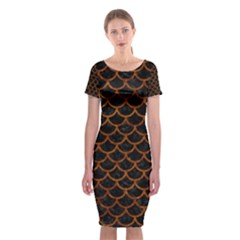 Scales1 Black Marble & Brown Marble Classic Short Sleeve Midi Dress