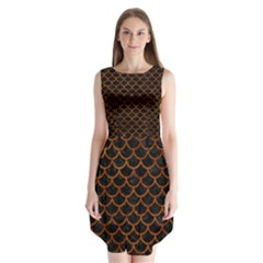 Scales1 Black Marble & Brown Marble Sleeveless Chiffon Dress