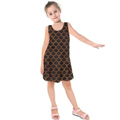 Scales1 Black Marble & Brown Marble Kids  Sleeveless Dress