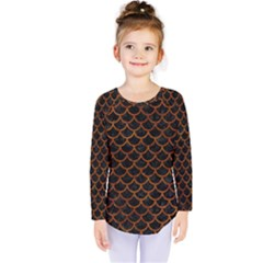 Scales1 Black Marble & Brown Marble Kids  Long Sleeve Tee