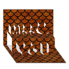 Scales1 Black Marble & Brown Marble (r) Miss You 3d Greeting Card (7x5)