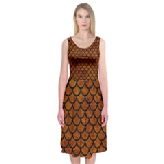 Scales1 Black Marble & Brown Marble (r) Midi Sleeveless Dress