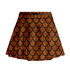 Scales1 Black Marble & Brown Marble (r) Mini Flare Skirt