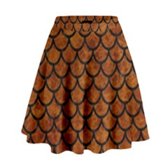 Scales1 Black Marble & Brown Marble (r) High Waist Skirt