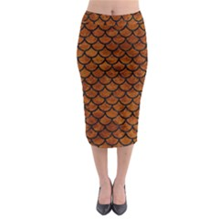 Scales1 Black Marble & Brown Marble (r) Midi Pencil Skirt
