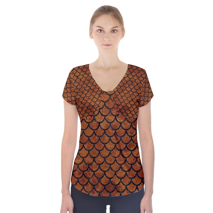SCALES1 BLACK MARBLE & BROWN MARBLE (R) Short Sleeve Front Detail Top