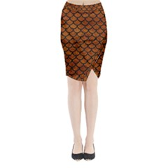 Scales1 Black Marble & Brown Marble (r) Midi Wrap Pencil Skirt