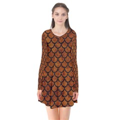 Scales1 Black Marble & Brown Marble (r) Long Sleeve V Neck Flare Dress