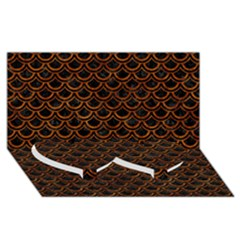 Scales2 Black Marble & Brown Marble Twin Heart Bottom 3d Greeting Card (8x4)