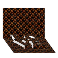 Scales2 Black Marble & Brown Marble Love Bottom 3d Greeting Card (7x5)