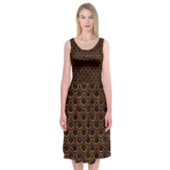 Scales2 Black Marble & Brown Marble Midi Sleeveless Dress