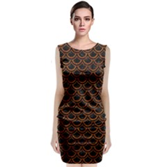 Scales2 Black Marble & Brown Marble Classic Sleeveless Midi Dress