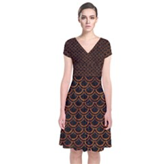 Scales2 Black Marble & Brown Marble Short Sleeve Front Wrap Dress